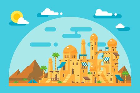 obelisk: Flat design arab mud village illustration Illustration