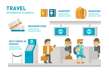 airport check in counter: Flat design check-in at airport travel illustration Illustration