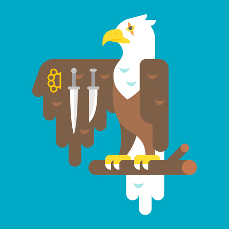 thug: Flat design eagle with weapons illustration