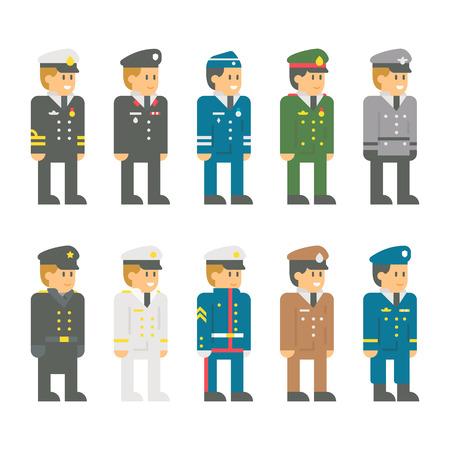 officer: Flat design soldier uniform set illustration