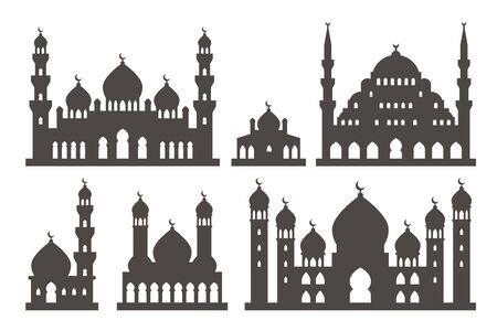 turkey istanbul: Islamic mosque silhouette set illustration vector