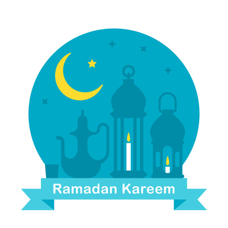 middle eastern food: Flat design Ramadan teapot and lanterns illustration vector