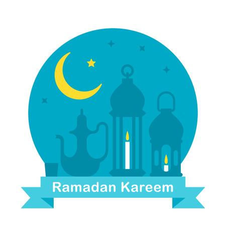 middle eastern food: Flat design Ramadan teapot and lanterns illustration vector