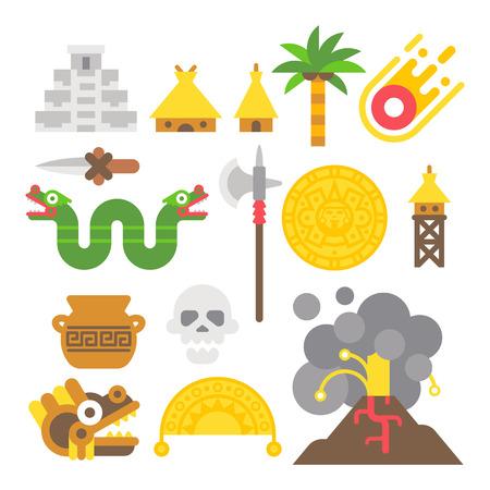 cultura maya: Diseño plano elementos mayas establece la ilustración