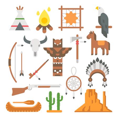 horse pipes: Flat design native Americans items set illustration