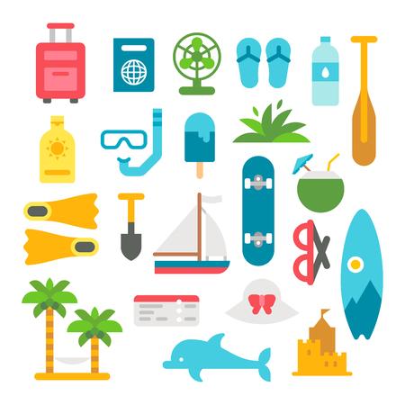 surfboard fin: Flat design beach items set illustration
