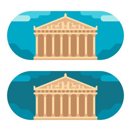roman pillar: Flat design Parthenon illustration Illustration