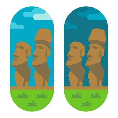 easter island: Flat design moai easter illustration
