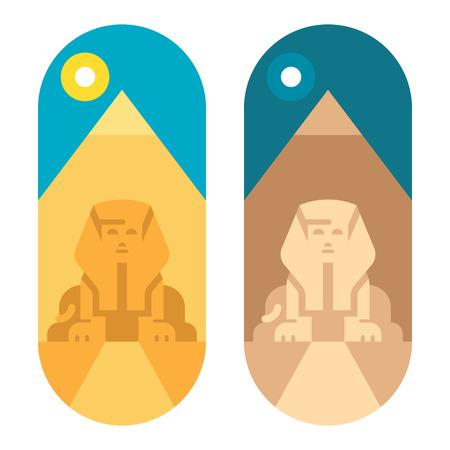 esfinge: diseño de la pirámide plana ilustración Giza