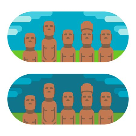 moai: Flat design moai easter illustration