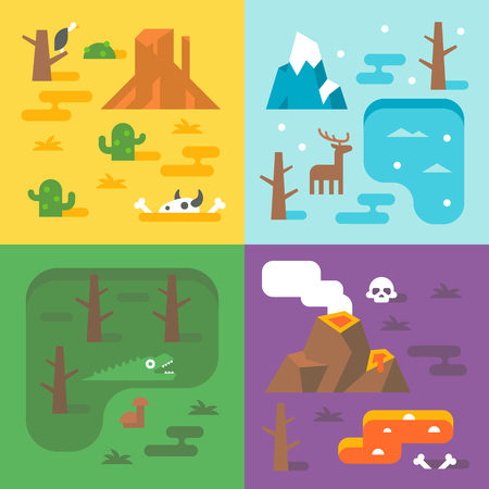 four season: Flat design climate season set illustration