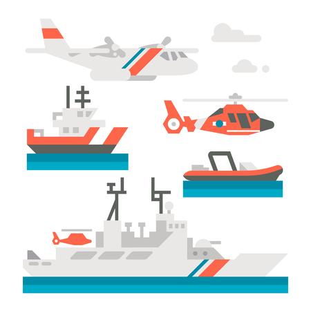 coast: Flat design coast guard vehicle illustration Illustration