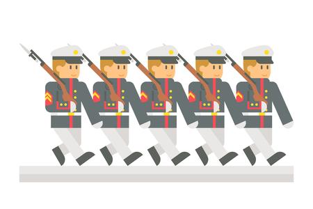 플랫 디자인 군사 퍼레이드 그림