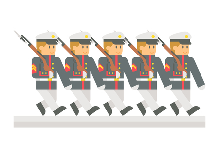 parade: Flat design military parade illustration