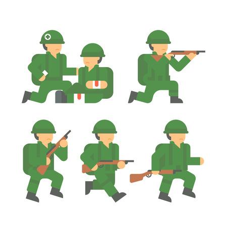world war 2: Flat design world war 2 soldier illustration
