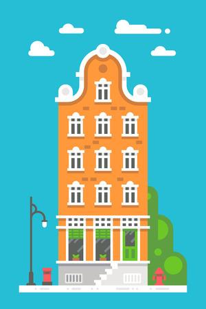 Flat design european building illustration vector