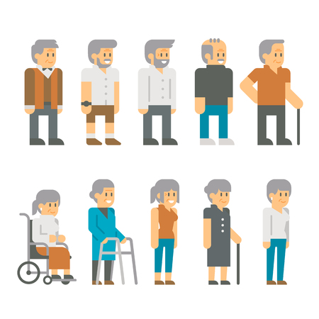 happy mature couple: Flat design senior citizens illustration vector