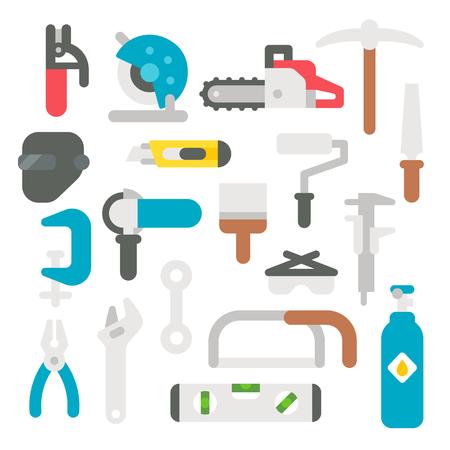 design tools: Flat design labor tools set illustration vector