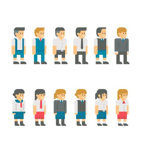 zapatos escolares: estudiante de diseño de pantalla plana conjunto uniforme de ilustración vectorial