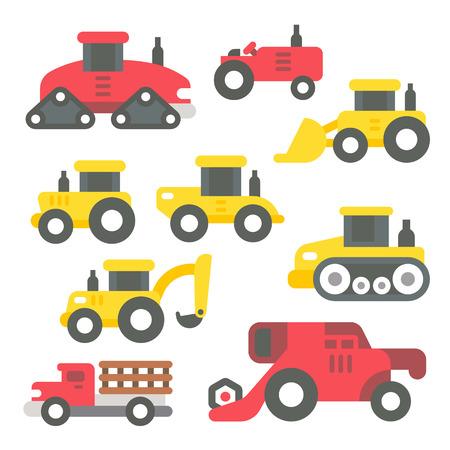 agricultural: Flat design tractors set illustration