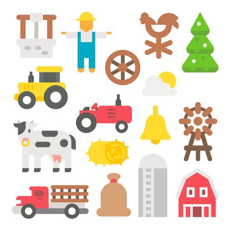 silos: Flat design farm items set illustration