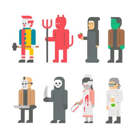 design costume: Flat design Halloween costume set illustration Illustration
