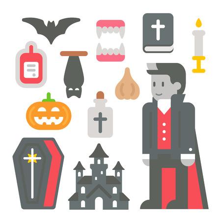 garlic: Flat design vampire item set illustration