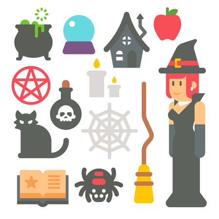 Flat design witch item set illustration