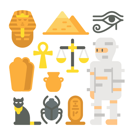 Flat design mummy item set illustration