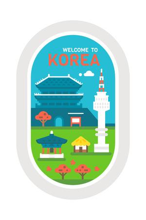 traditional house: Flat design Korea landmarks illustration vector