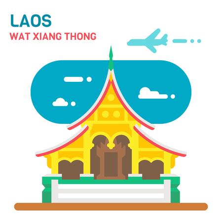 Flat design Wat Xiang Thong illustration vector
