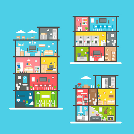 office building: Flat design buildings interior set illustration vector