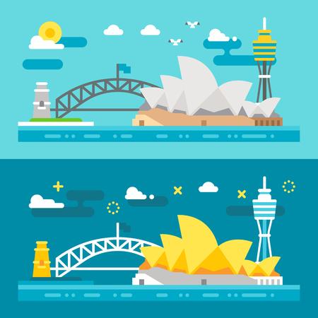 Flaches Design Sydney Sehenswürdigkeiten Illustration Vektor Vektorgrafik