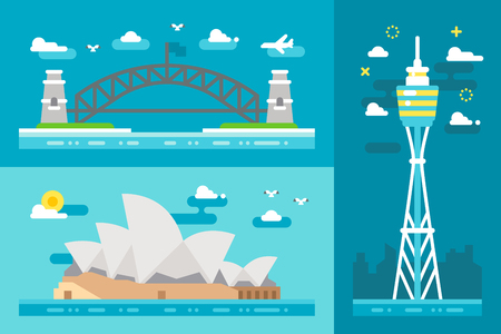 sydney: Flat design Sydney landmarks illustration vector