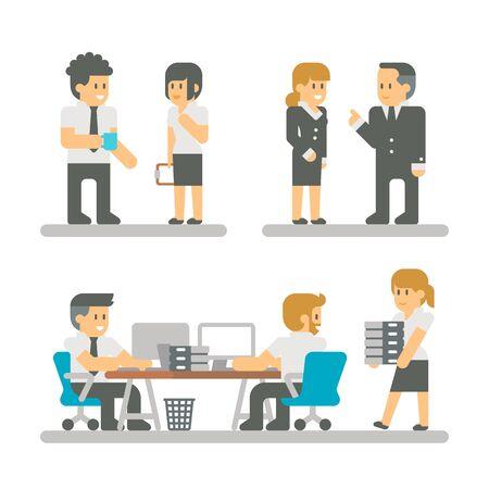 Flat design cartoon meeting business people illustration vector