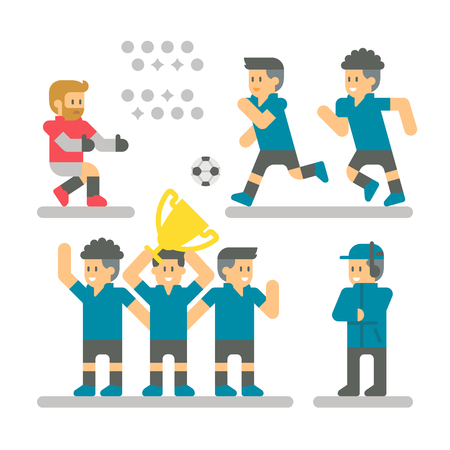 Flat design Football player set illustration vector