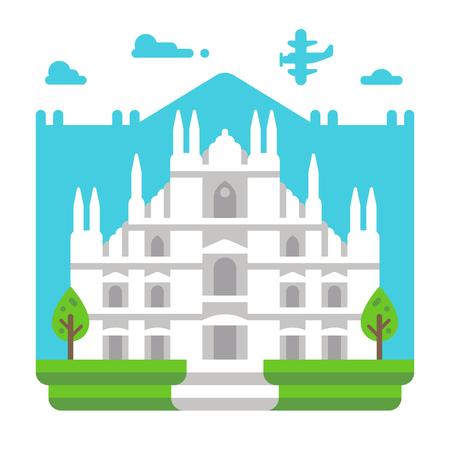 Flat design Milano Duomo illustration vector Illustration