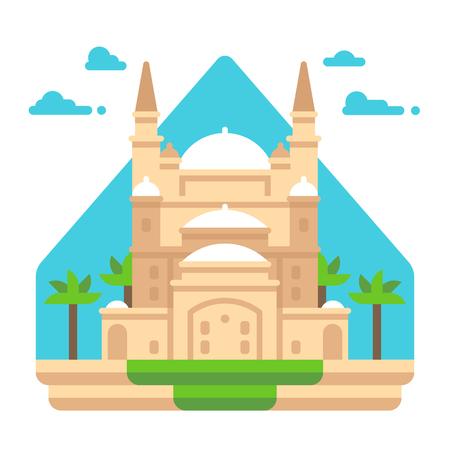 フラットなデザインのモハメド · アリのモスクのイラスト