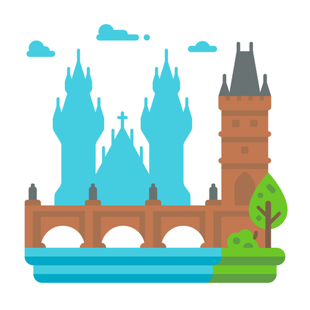 フラットなデザイン プラハ カレル橋イラスト