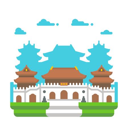 Flat design Jingan temple Shanghai illustration vector Illustration