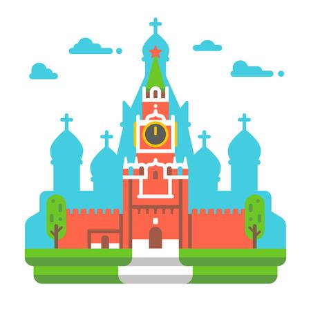 Flat design Red square clock tower illustration vector