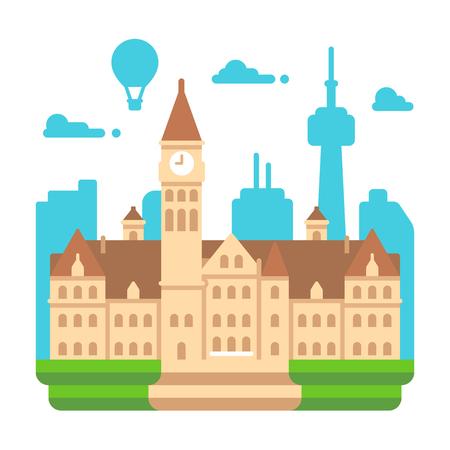 Flat design Toronto old city hall illustration vector Illustration