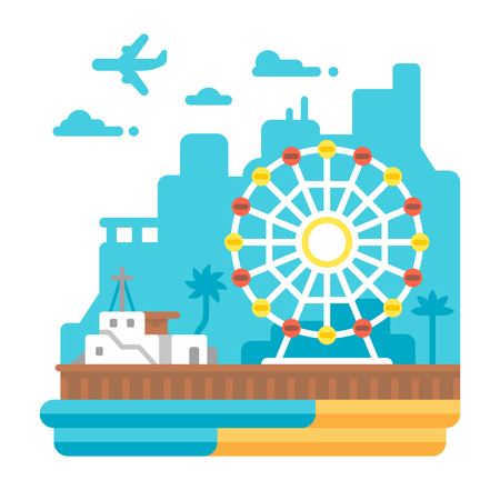 Flat design Santa Monica Pier illustration vector