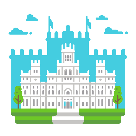 Flat design Cibeles palace Madrid illustration vector