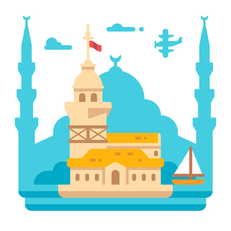 Flat design Maidens tower Istanbul illustration vector Illustration