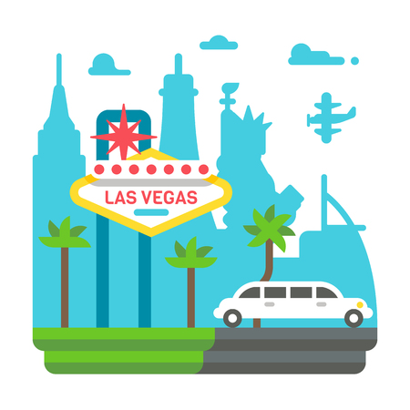 Flat design Las Vegas illustration vector
