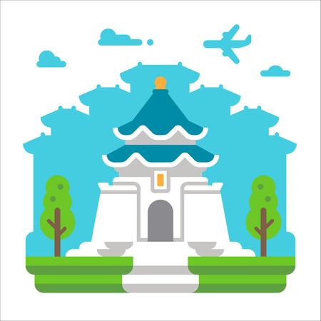 Flat design Chiang Kai Shek Taipei illustration vector