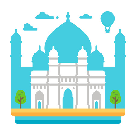 Flat design Gateway of India illustration vector