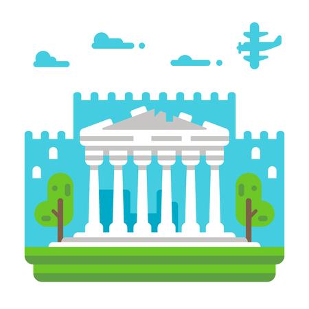 フラットなデザインのパルテノン神殿のイラスト