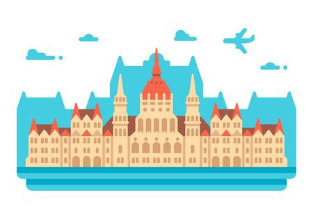 Flat design Budapest Parliament illustration vector